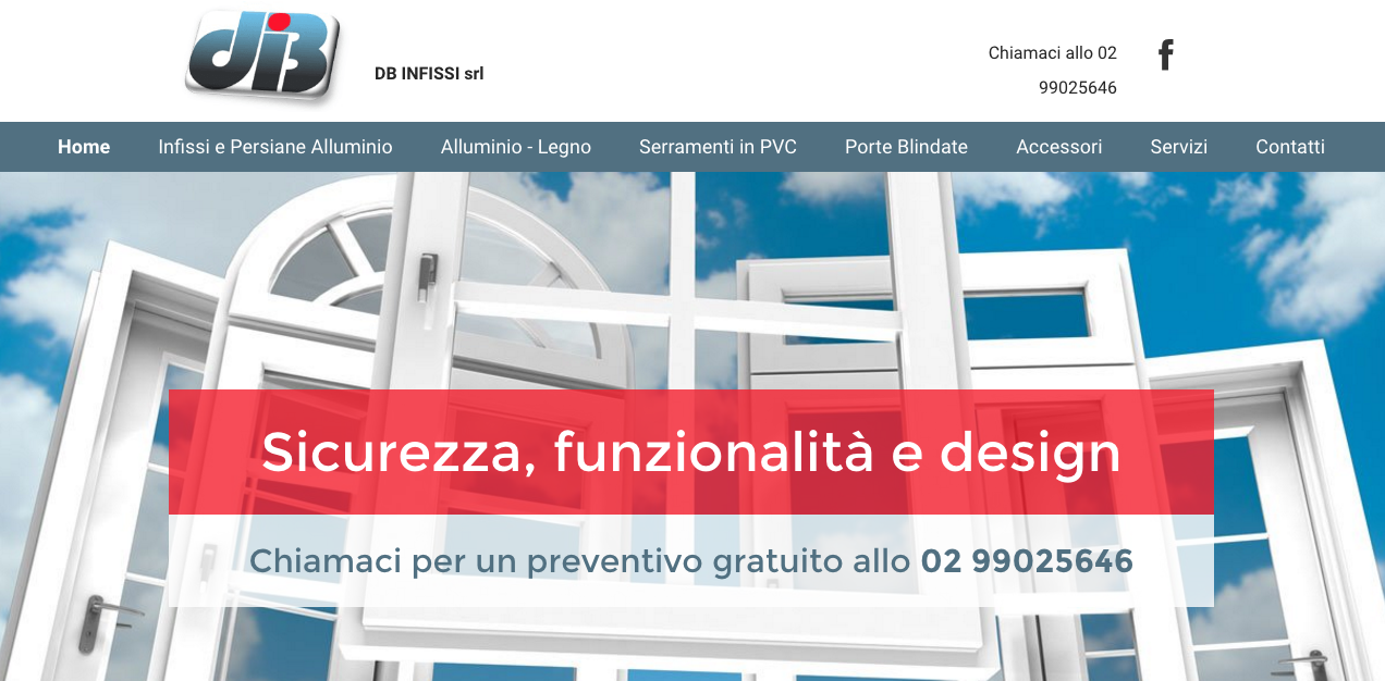 DB Infissi website
