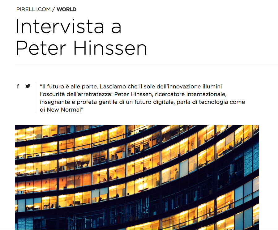 Interview with Peter Hinssen - Translation for Pirelli