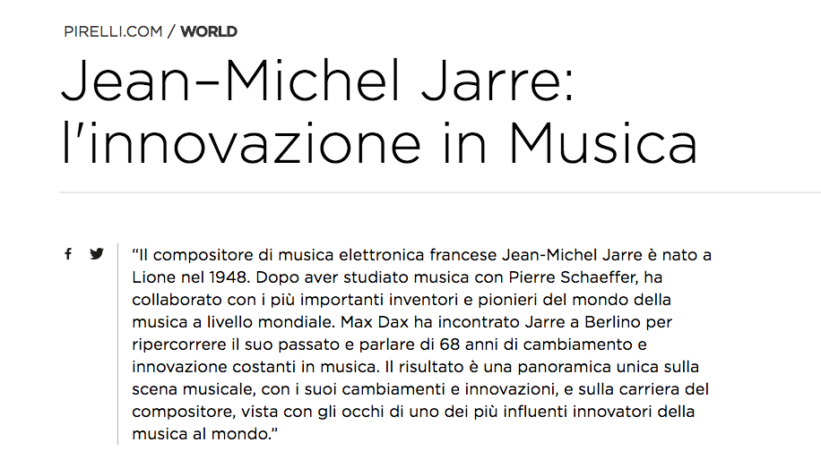 Interview with Jean-Michel Jarre - Translation for Pirelli
