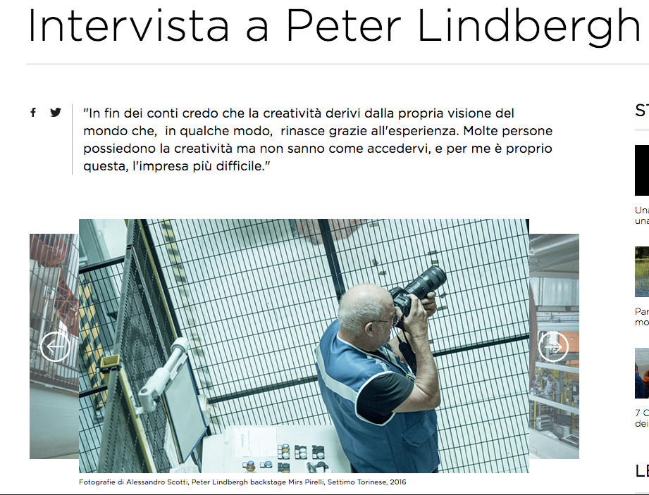 Interview with Peter Lindbergh - translation for Pirelli